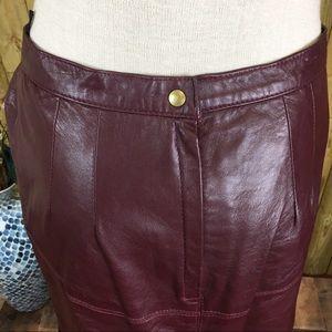 Vintage Skirts - Vintage Burgundy Full Length Leather Pencil Skirt